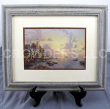 """""""Sea of Tranquility"""" by Thomas Kinkade Matted & Framed Lighthouse Print 17""""x14"""""""