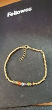 Shivam Made in India .925 Sterling Silver 7 Stone Chakra  Bracelet - NEW