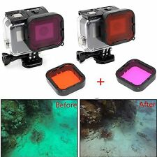 2-Pack Red Magenta Underwater Filter Lens For GoPro Hero 5 Super Suit Housing
