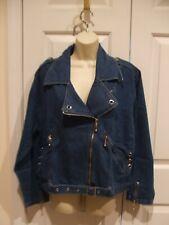 NWT FORENZA  denim motorcycle style  Zip Up Jacket Size small
