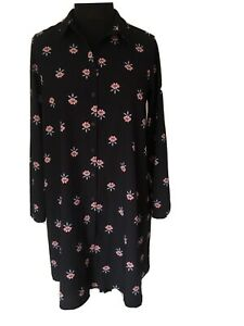Dorothy Perkins Navy Floral Dress Size 12 Long Sleeves