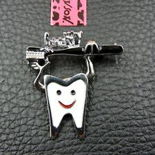 Dentist Toothbrush Charm Brooch Pin Betsey Johnson Fashion Enamel Cute Cartoon