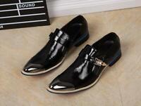 Mens Rivet Studded Punk Business Crack Cuban Heel Pointed Toe Dress Shoes
