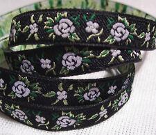 RUBAN GALON JACQUARD BRODÉ Fleurs Roses Fond Noir ** 10 mm ** vendu au mètre