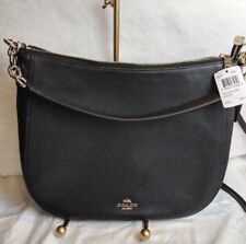 NWT Coach F58036 Light Gold/Black Chelsea Hobo 32 in Polished Pebble Leather