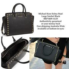 Michael Kors Selma Stud Black Leather Large Satchel Crossbody Dustbag RRP $609