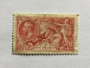 1913/19 GB Great Britain UK KGV 5Sh Britannia Old Stamp.