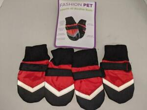 Fashion Pet Extreme All Weather Boots Dogs Medium Red New -0121