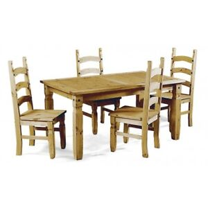 Corona Dining Table and 4 Chairs Set 4' Mexican Solid Pine by Mercers Furniture®