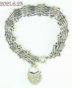 "Antique Sterling Silver 925 Engraved Heart Pad Lock Charm & Bracelet 7-3/8""L"