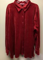 Woman Within Plus Size 2X 28W Red Velvet Velour Button Front Blouse Top Tunic