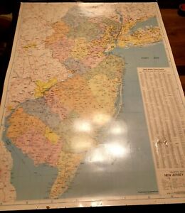 """1983 State of New Jersey LARGE Wall Map 52"""" x 42.5"""" Vinyl Geography Champion"""