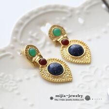 Boucles d'Oreilles Clous Ethnique Baroque Art Deco Bleu Vert Rouge Vintage AA 6