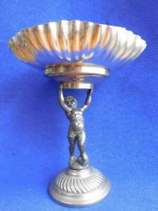 Antique EP Silver WMF Centerpiece Compote Fruit Bowl with Cherub Stand c1890