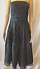 KAY UNGER Black Silk Needlepoint Cross Stitch   Strapless Corset Dress SZ 6