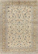 Vintage Floral Ivory Ardakan Oriental Area Rug Hand-Knotted Large Carpet 10'x14'