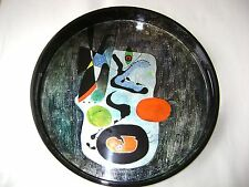 SILVER-LEAFED ROUND TRAY -  18 IN. DIAMETER - HANDPAINTED WITH PIGMENTED INK