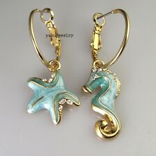 Clear Crystal Blue Enamel Seahorse Sea & Star Cocktail Hoop Earring Y-VER084