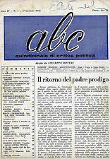 ABC # Quindicinale di Critica Politica - Anno IV - N.1 # 1 Gennaio 1956