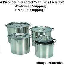 4 Piece Stainless Steel Stock Pot Set 6, 8, 12, 16 Qt With Lids World Shipping!