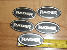 "LAND ROVER WHEEL OVAL BADGE ""RADER"" FITS CENTRE CAP & INTERIOR,BLACK SILVER x5"