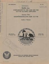 1946 AAF T-2 TECHNICAL REPORT-GERMAN COMPARISON OF 8-229 & P-60 FLYING WING-CD
