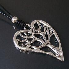 Necklace Black Long XL Leather LOOK Pendant Silver Jewellery Women's Kv24 Heart - Tree of Life K1000