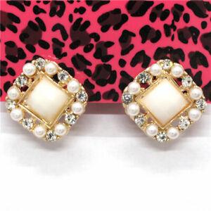 New White  Resin Diamond Geometric Crystal Betsey Johnson Women Stand Earrings