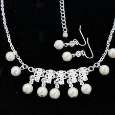 imitación blanco perla y cristal pendientes de araña y necklace set