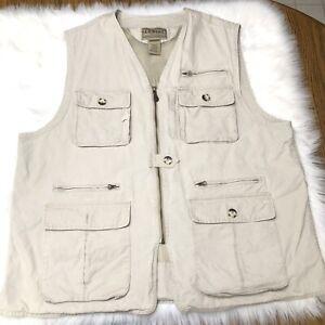 LL Bean Fishing Vest Khaki Men's XXL 100% Cotton O HVL8
