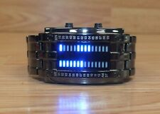 Binary Time Blue LED Black Stainless Steel Men's Awesome Wrist Watch