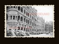 Queen's Road Building Car  Street Scene B&W Vintage Hong Kong Photo 香港旧照片 #1951