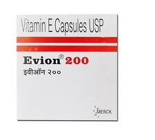 Vitamin E 200 mg Capsules For Face Hair Acne Nails NEW EVION 100 Caps
