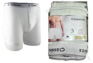 New Men's All White Classic Sport 3 Pair Pack Cotton Rich Boxer Shorts Underwear