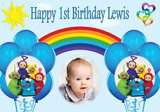 KIDS BIRTHDAY BANNER POSTER PRINT PERSONALISED TELETUBBIES ANY NAME PHOTO