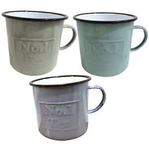 1L Rustic, Shabby Chic Set of 3 Enamel Mugs in Grey, Green and Blue