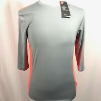 Under Armour Fitted Quarter Sleeve Mens Athletic Shirt SMALL Gray Orange NEW NWT