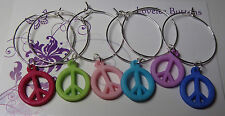 PEACE SIGN WINE GLASS CHARM RINGS , SET OF 6 , COLOURFUL SILVER RINGS
