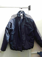 Men's Adidas jacket large navy 3 stripes hooded quilted vgc needs zip repair