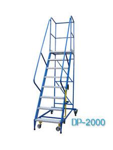 Fahrbare Podestleiter Treppen mit Rollen 7 Stufe Stahl Leiter Plattform DP20