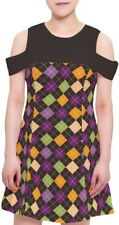 Argyle Women Cutout Shoulder Round Neck Shift Dress b142 acc01138