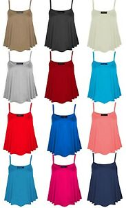 New Ladies Women Plain Summer Strapy Cami Vest Top Stretch Flared Plus Size 8-26