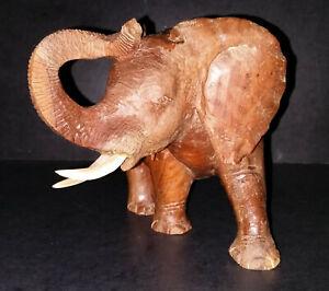 Vintage Carved Heavy Wood  6.75 inch Elephant from Zimbabwe signed M. Machokoto