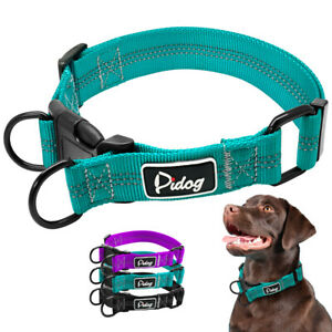 Reflective Pet Collar for Small Large Dogs Adjustable Purple Black Martingale