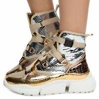 Cape Robbin SuperStar Crocdile High Top Lace Up Platform Fashion Sneaker Bootie