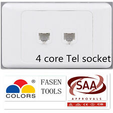 Double Phone Telephone Tel Socket Outlet Wall Plate White CAT3