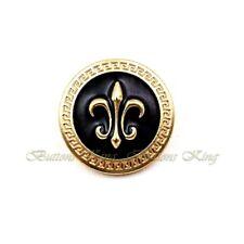 8pcs Or Métal d'huile noir vintage Armoiries Héraldique Lily ART boutons 22 mm.