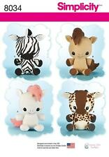 Simplicity PATRON COUTURE Huggable farci animaux cheval zèbre girafe 8034