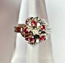 18K White Gold Diamond Ruby Cluster Ring Vintage