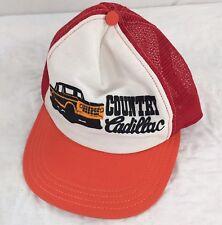 Vtg Country Cadillac Snapback Trucker Hat Orange Cap Broken Snaps